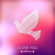 Vector dove, valentine's day background. pigeon. blurred template, holiday. i Stock Illustration