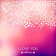 Vector valentine's day background. blurred template, holiday. invitation card Stock Illustration