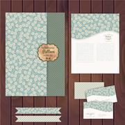 vector set of floral vintage wedding cards on wood texture, invitations. enve - stock illustration
