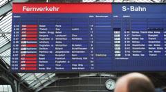 RAILWAY STATION TIMETABLE IN ZURICH Stock Footage