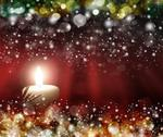Stock Illustration of four red candles with christmas balls in atmospheric light