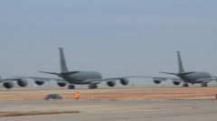 KC-135 Stratotankers taxi and take off from McConnell Air Force Base - stock footage