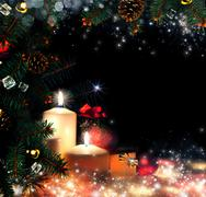 christmas. three candles and blue spruce - stock illustration
