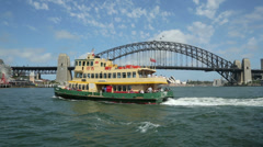 Pan of ferry boat and sydney harbour bridge and luna park, australia Stock Footage