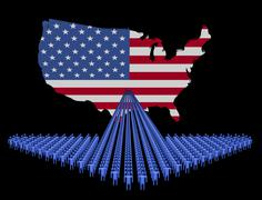 Arrow of people with usa map flag illustration Stock Illustration
