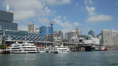 Stock Video Footage of darling harbour and cockle bay wharf, sydney, Australia