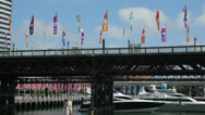 Stock Video Footage of flags and bridge at cockle bay wharf, darling harbour, sydney, australia