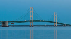 Time lapse Sunset Mackinac Bridge, Michigan, USA Stock Footage