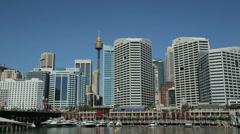Stock Video Footage of pan, cockle bay wharf, darling harbour, sydney, australia