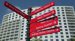 Tourist signpost and information, cockle bay wharf, darling harbour, sydney Stock Footage