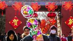 The scene at the entrance of the temple fair at Ditan Park Stock Footage