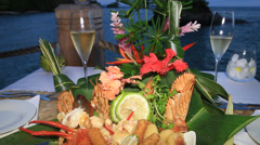 Champagne and Seafood Platter Stock Footage