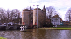 Gentpoort (Ghent Gates) in Brugge. - stock footage