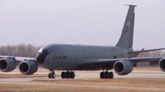KC-135 Stratotankers taxi and take off from McConnell Air Force Base Stock Footage