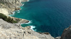 Europe Spain Balearic Ibiza coves and landscapes 089 part of steep coast Stock Footage