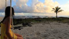 Woman on tropical island Stock Footage