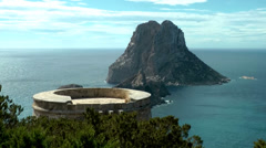 Europe Spain Balearic Ibiza coves and landscapes 087 platform of pirate tower Stock Footage