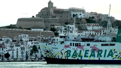 Europe Spain Balearic Ibiza towns and villages 082 departure of ferry ship Stock Footage