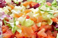 Stock Photo of salad with diced cheese and quince jelly