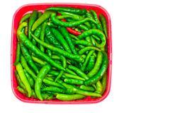 Stock Photo of green hot pepper on white