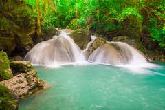 Waterfall beautiful (erawan waterfall) in kanchanaburi province Stock Photos