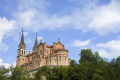 the old cathedral of covadonga in asturias, spain - stock photo