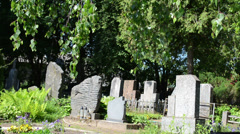 Grave tomb stones and trees in rural cemetery Stock Footage