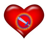 Heart and sword Stock Illustration