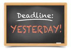 blackboard deadline yesterday - stock illustration