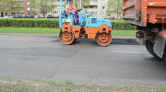 Heavy vibration roller machine asphalt press pavement works Stock Footage
