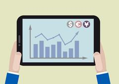 tablet stock chart - stock illustration