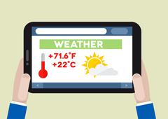 tablet weather - stock illustration