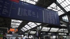 RAILWAY STATION display board Stock Footage