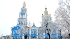Russian Church in winter. Early morning. Fog Stock Footage