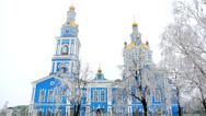 Stock Video Footage of Russian Church in winter. Early morning. Fog