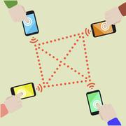data exchange mobile - stock illustration