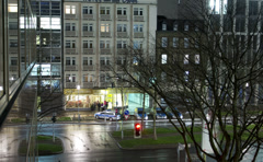 Traffic lights in the center of Dusseldorf at night. Stock Footage