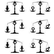 Gender equality set Stock Illustration