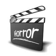 clapper board horror - stock illustration