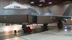 F-22 Raptor stealth fighter wash and maintenance Stock Footage