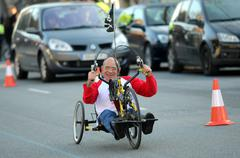Athlete with mobility disabilities running Stock Photos