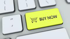 Buy Now button on computer keyboard. Key is pressed Stock Footage