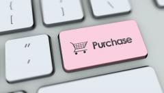 Purchase button on computer keyboard. Key is pressed Stock Footage