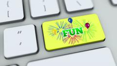 Fun button on computer keyboard. Key is pressed Stock Footage