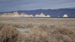 1039 - desert lake with tuffa pinnacles background Stock Footage