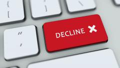 Decline button on computer keyboard. Key is pressed Stock Footage