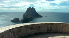 Europe Spain Balearic Ibiza coves and landscapes 092 on pirates tower Stock Footage
