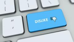 Dislike button on computer keyboard. Key is pressed Stock Footage