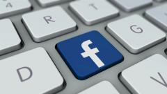 Face book button on computer keyboard. Facebook key mac board, click for HD Stock Footage