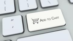 Add to cart button on computer keyboard. Key is pressed, click for HD - stock footage